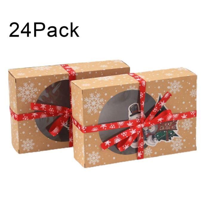 Lot de 24 boîtes à biscuits de Noël avec fenêtre de visualisation