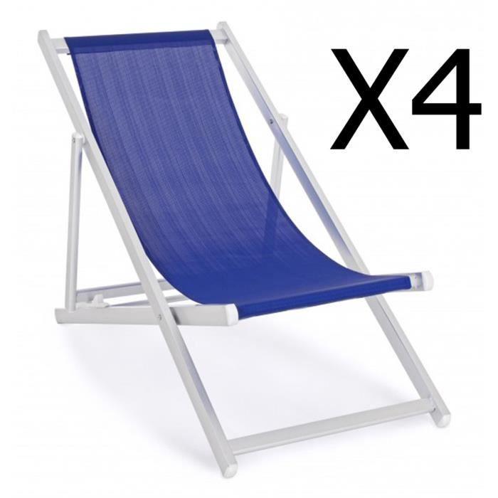 Lot de 4 chiliennes en aluminium coloris bleu - Dim : L 57 x P 80 x H 106 cm