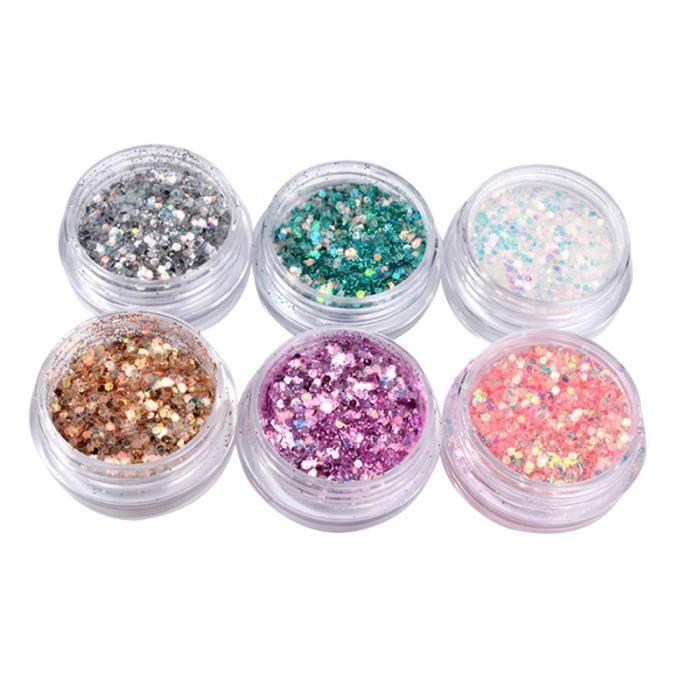 6 pièces ongles paillettes flocons irisés conseils ultra-minces coloré mixte Paillette visage corps UV POUR ONGLES