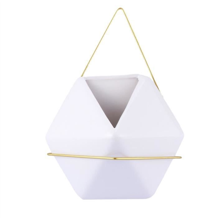 Jardinière accrochante en céramique Triangle tranchant Plante Hanger Fleur Pot Plante Porte-panier pour décorations d'intérieur en