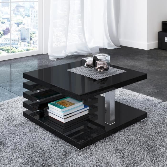 Table basse design - ARIENE - 60x60 cm - noir brillant - étagère pratique sous le plateau