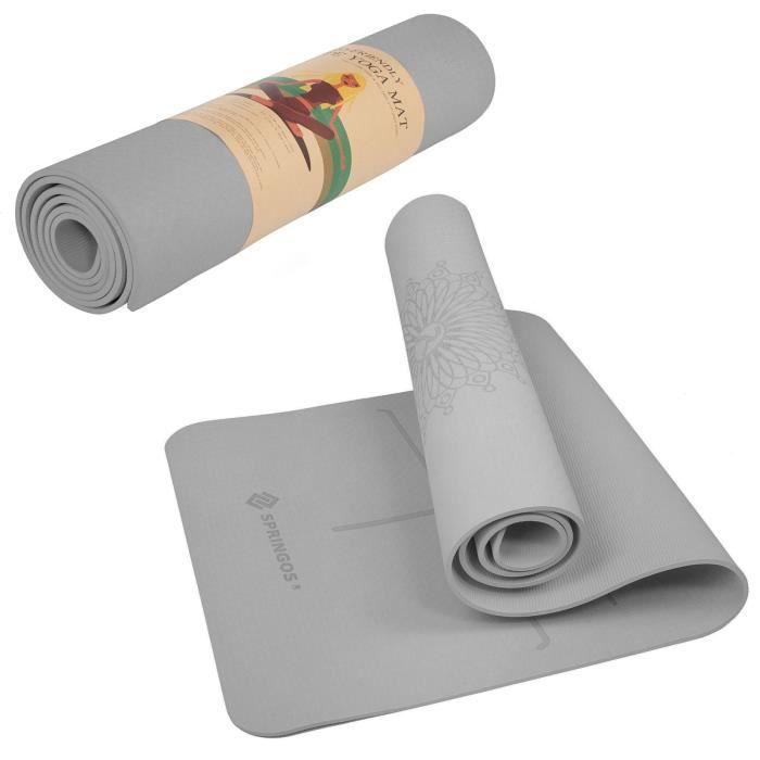 SPRINGOS® Tapis de yoga Tapis de fitness Tapis de gymnastique Tapis de sport Pilates Tapis de sol - Gris