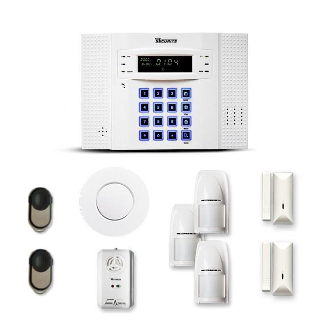 Alarme maison sans fil DNB 2 à 3 pièces mouvement + intrusion + détecteur de fumée + gaz - Compatible Box / GSM