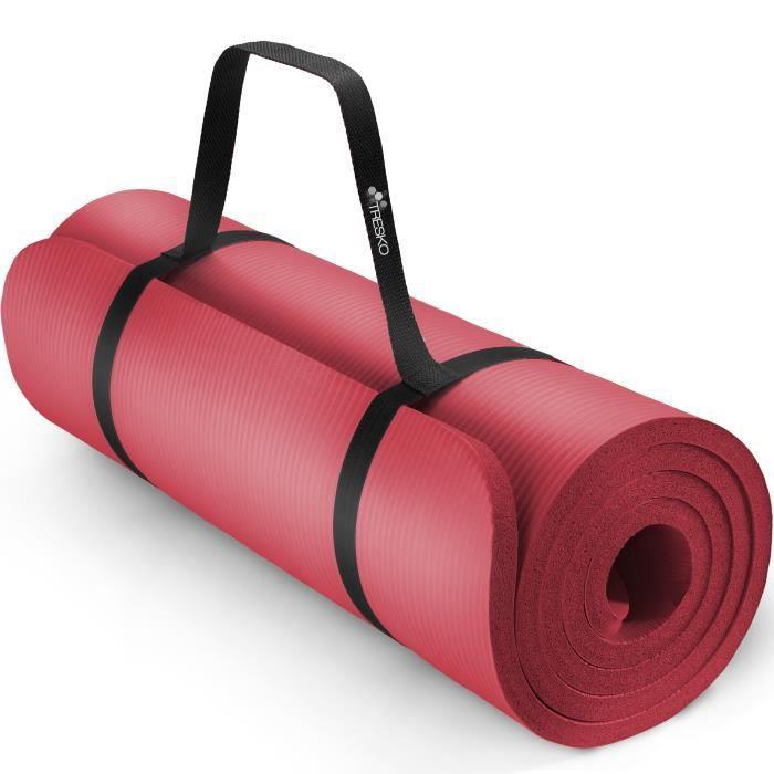 TRESKO Tapis d'exercice fitness yoga pilates gym, en Mousse NBR (185 x 60 x 1,5cm) Rouge