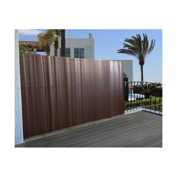 Brise vue avec attaches balcon canisse 300x150cm marron ...