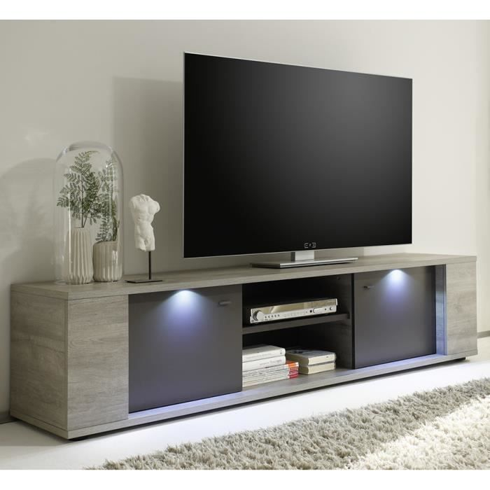 meuble tv lumineux couleur ch ne gris et gris contemporain aquila 2 portes 2 niches taille. Black Bedroom Furniture Sets. Home Design Ideas