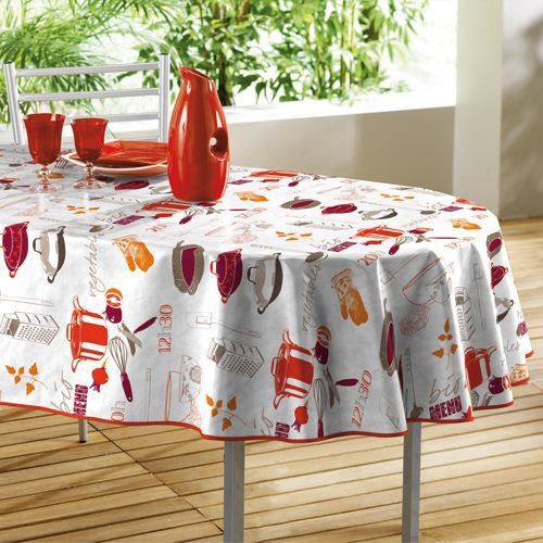 nappe toile cir e ovale orange blanc 140x240cm achat vente nappe de table cdiscount. Black Bedroom Furniture Sets. Home Design Ideas
