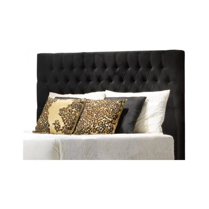 t te de lit capitonn e noir pour lit 160 achat vente t te de lit cdiscount. Black Bedroom Furniture Sets. Home Design Ideas