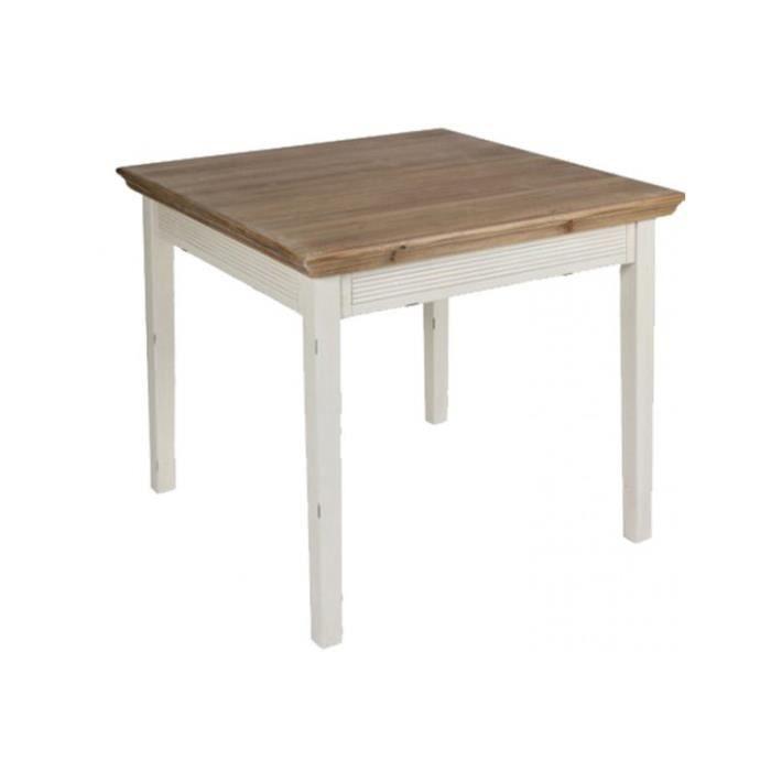 Table Salle De Cuisine Carree Bois Naturel Et Bois Blanc 90x90cm