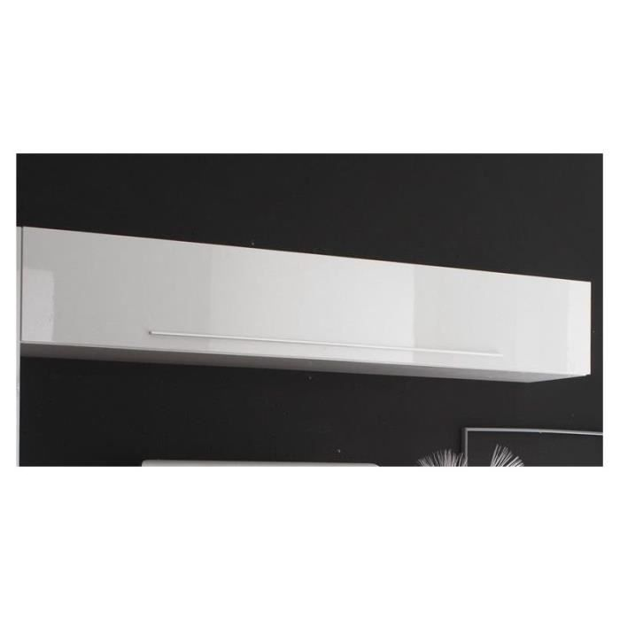 Meuble mural blanc laqu suspendu design luja blanc for Meuble mural occasion