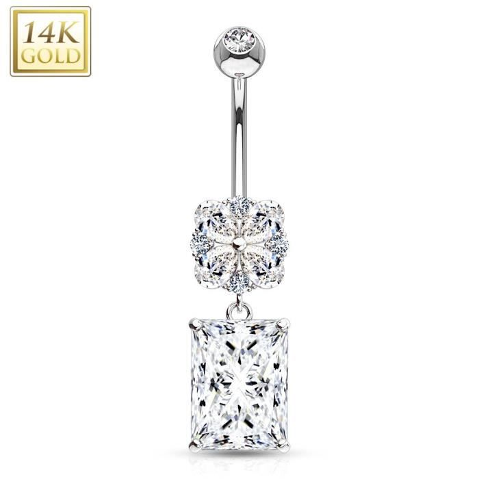 Piercing nombril Or blanc 14 carats gemmes