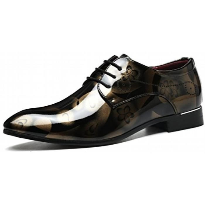 Classique Wingtip Chaussures en cuir verni Tuxedo Floral Chaussures Oxford Dress A11CH Taille-41 cdIik