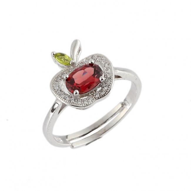 Bague réglable fleur avec pierres rouges,sur métal Doré,gar sans nickel