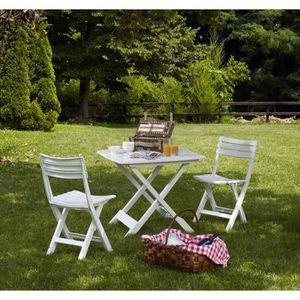 Salon de jardin plastique blanc - Achat / Vente Salon de ...