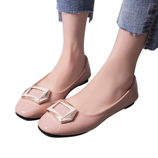 Reservece  Femmes Shallow Square Buckle Slip Round On Low Heel Shoes Round Slip Toe Single Shoes Rose Rose Rose - Achat / Vente slip-on e5870e