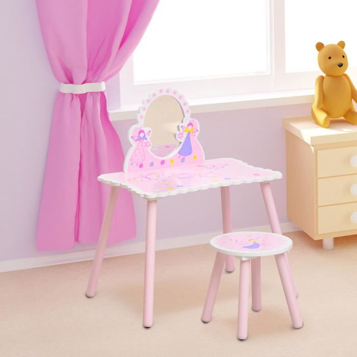 coiffeuse table de maquillage pour enfant avec miroir tabouret motif papillon rose neuf 03 rose. Black Bedroom Furniture Sets. Home Design Ideas