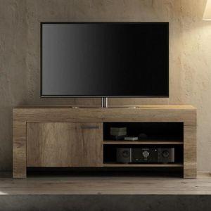MEUBLE TV Petit meuble tv contemporain couleur chêne THELMA