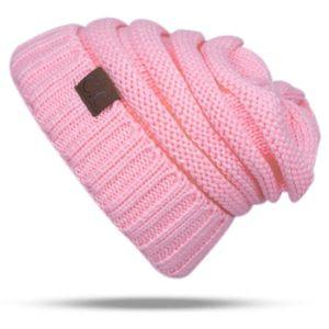 BONNET - CAGOULE Bonnet rose CC Lettre Chapeau de laine de couleur
