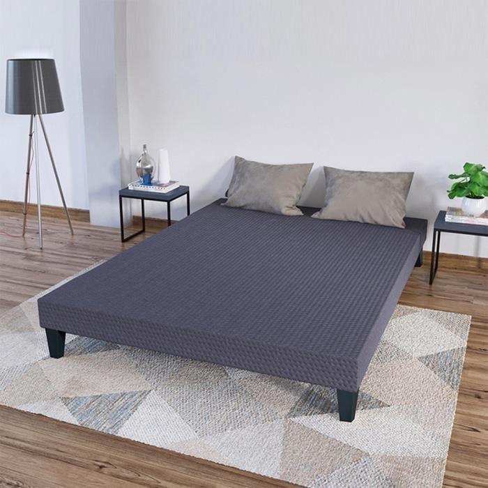 OLYMPE - Sommier tapissier en kit - gris ciment - 160x200