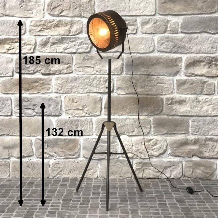 Lampadaire Lampe Style Projecteur Industriel Fer 185 cm - 14414-Lampe-Bis