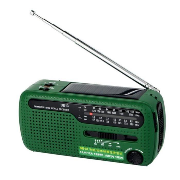 Radio AM / FM Dynamo à manivelle solaire multifonctionnelle portable (Vert) RADIO CD - RADIO CASSETTE - FM