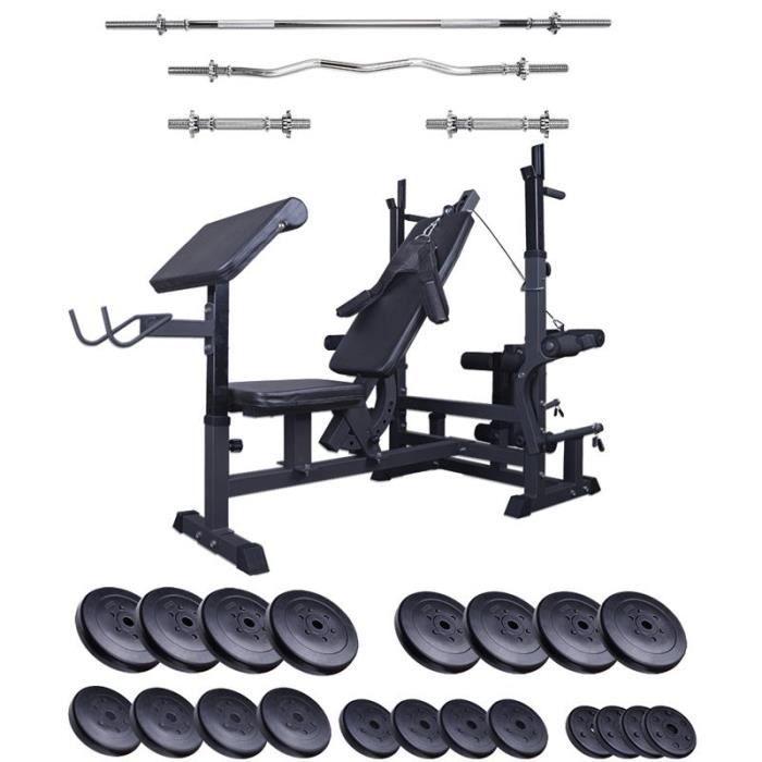 banc de musculation professionnel avec jeu d'haltã¨res de 120 kg mg