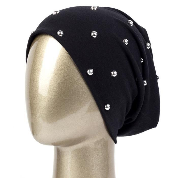 Black -Geebro – Bonnet pour femme, couleur unie, en Polyester, avec perles, à la mode