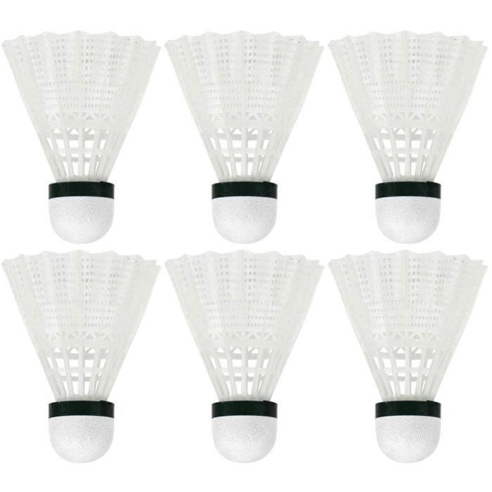 6 pcs volants de badminton sport volants en plastique stable durable formation sportive balles de badminton (blanc)