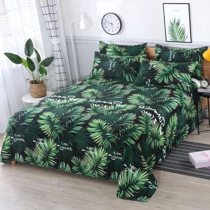 Drap Housse,Ensemble de lit 3 pièces, drap de lit 1 pièce + 2 taies d'oreiller, imprimé Floral, drap plat en - Type P-230x110cm