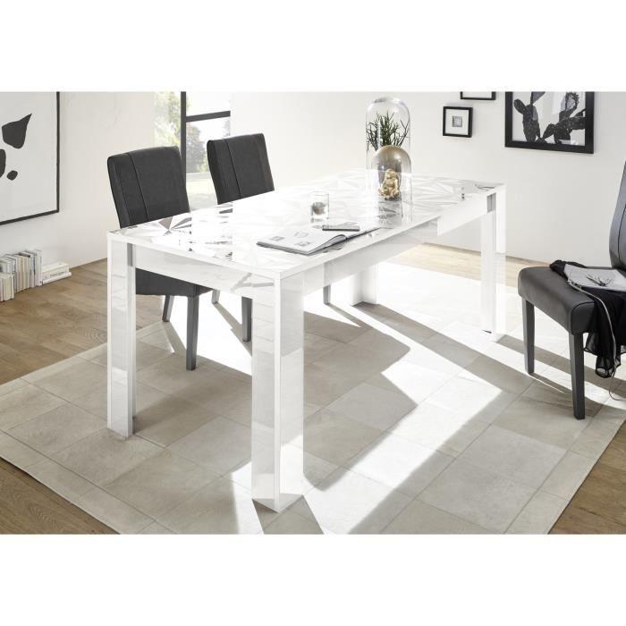 Table de Salle à manger - Rectangulaire - Blanc Laqué brillant - PARIGI - L 180 x P 90 x H 79 cm