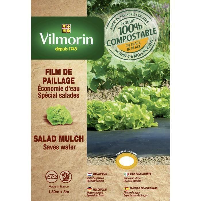 VILMORIN Film paillage salades en farine de céréales - Epaisseur 20 µm - 1,50 x 8 m (Lot de 3)