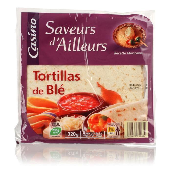 Tortillas de blé - 8 galettes souples - 320 g