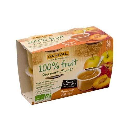 DANIVAL - Purée pomme & pêche 100% fruit bio sans sucres ajoutés 4 x 110 g - Compote fabriquée en France
