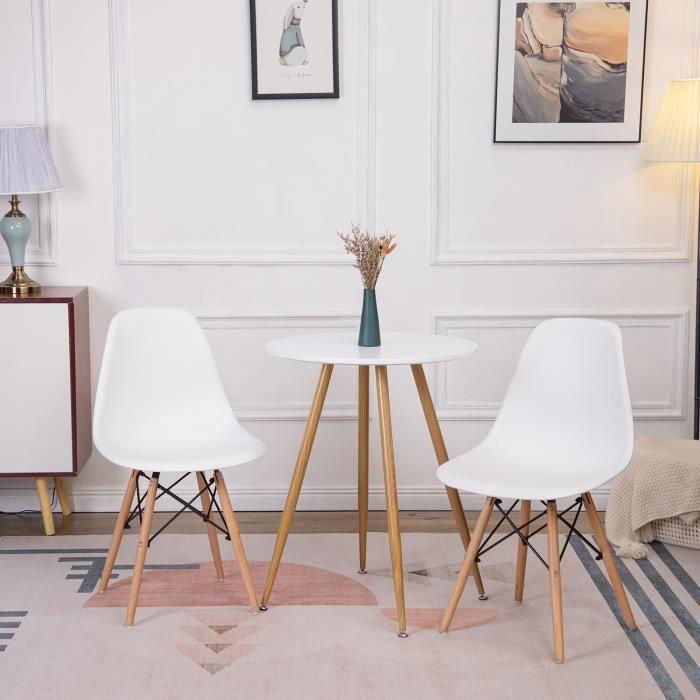 IPOTIUS Table à manger ronde design Blanc,Style scandinave 60 x 60cm