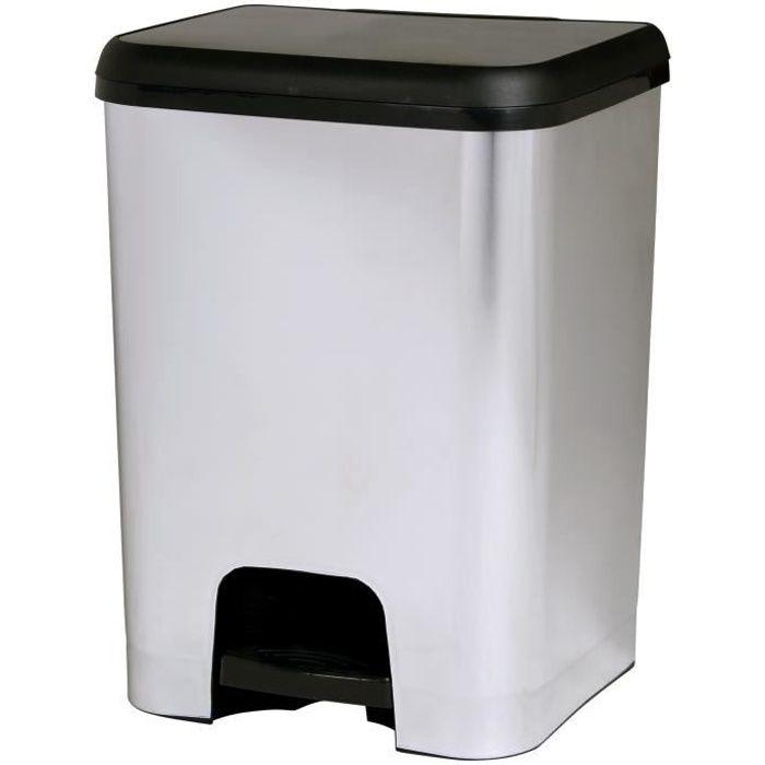 KITCHEN MOVE Poubelle de cuisine à pédale SEATTLE - Plastique aspect métal Inox brossé - 30 l - Brillant