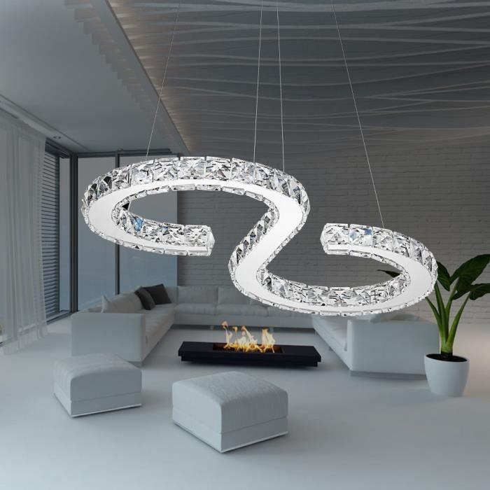 MCTECH Lustre LED Moderne en Cristal design - En forme de S - 32W - Blanc froid