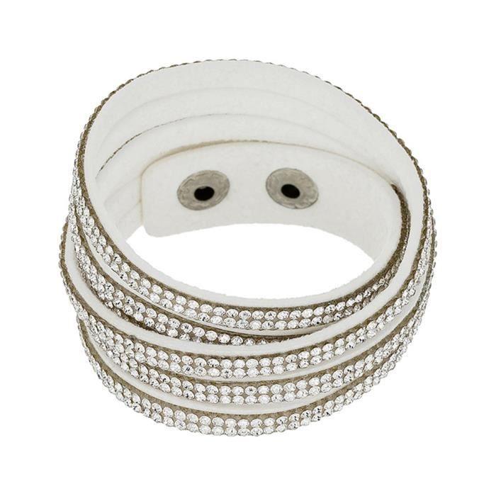Mes-bijoux.fr - Bracelet Femme Alcantara Argenté et ornée de Cristaux de Swarovski Element - WRG249Crygv