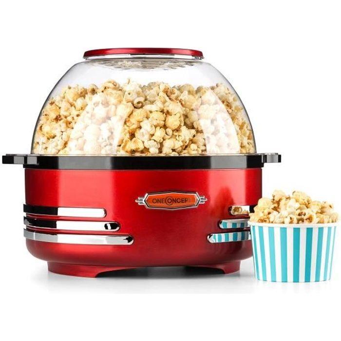 oneConcept Couchpotato - Machine à pop corn style rétro vintage (capacité 5,2L, couvercle double emploi) - rouge