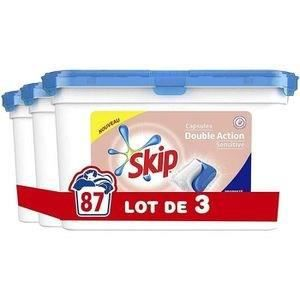 SKIP Lessive Double Action, Capsules, Sensitive pour Peaux Sensibles - 87 Lavages (Lot de 3x 29 capsules) - 0,699 kg