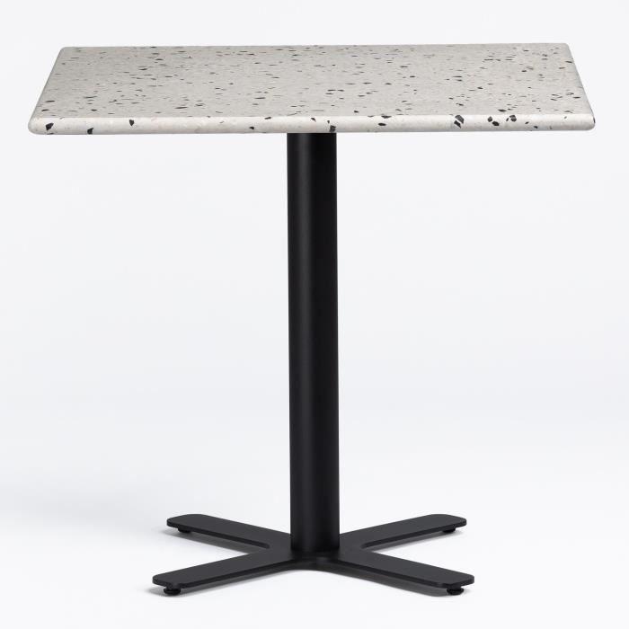 SKLUM Table de bar Bhôs en Terrazzo NOIR Blanc Carré