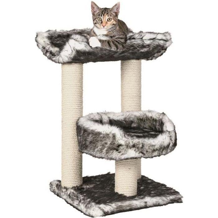 TRIXIE Isaba Arbre à chat Hauteur 62 cm noir et blanc peluche et sisal naturel