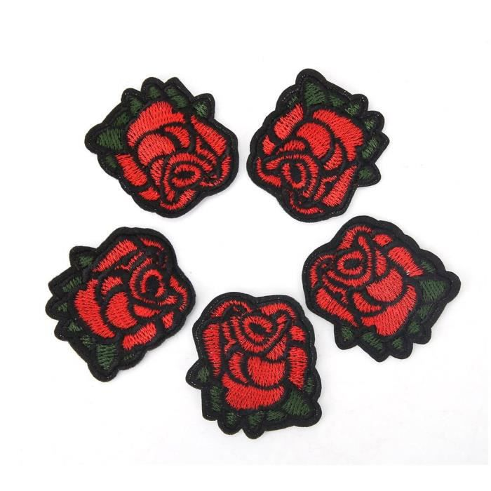 Ecusson brodé thermocollant rose rouge fleur Amour embroidered red flower 8 cm
