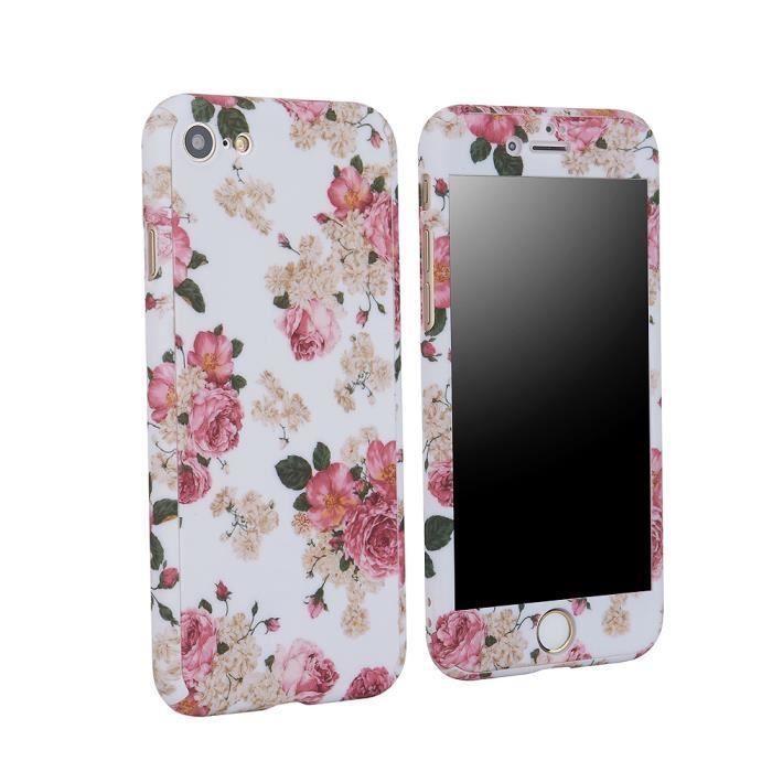 coque iphone 7 plus fleur etui 360 degres protec