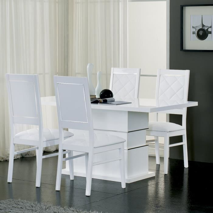 Table manger blanc laqu design palace l 190 cm achat for Table a manger blanc laque