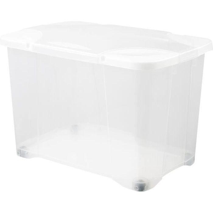 Boite De Rangement Plastique Avec Couvercle A Roulettes Achat Vente Pas Cher