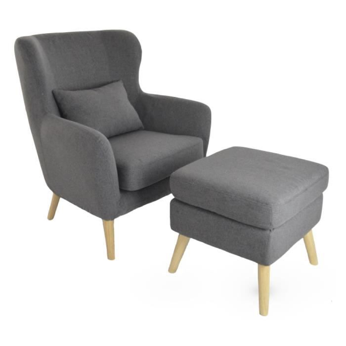 fauteuil design avec repose pied vilhelm en tissus gris. Black Bedroom Furniture Sets. Home Design Ideas