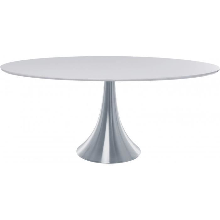 Table design ovale loft alu et mdf blanc 180 x achat vente table a mang - Table ovale design pied central ...