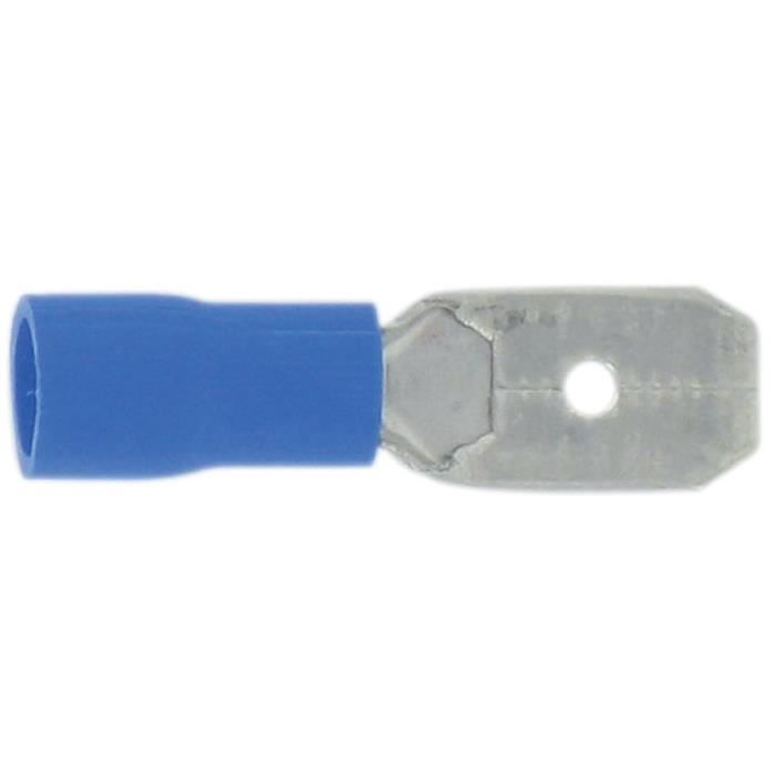 Bleu Vendu par 10 Clip femelle enti/érement isol/é Dhome Diam/ètre 6,35 mm