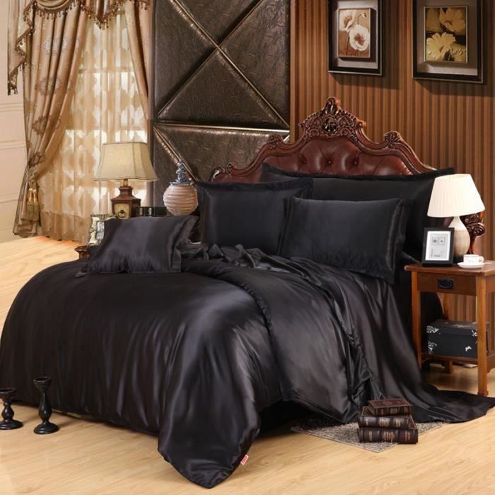 2016 chaud soie couette draps de satin noir linge de lit satin housse set de 4pcs d ensembles de. Black Bedroom Furniture Sets. Home Design Ideas