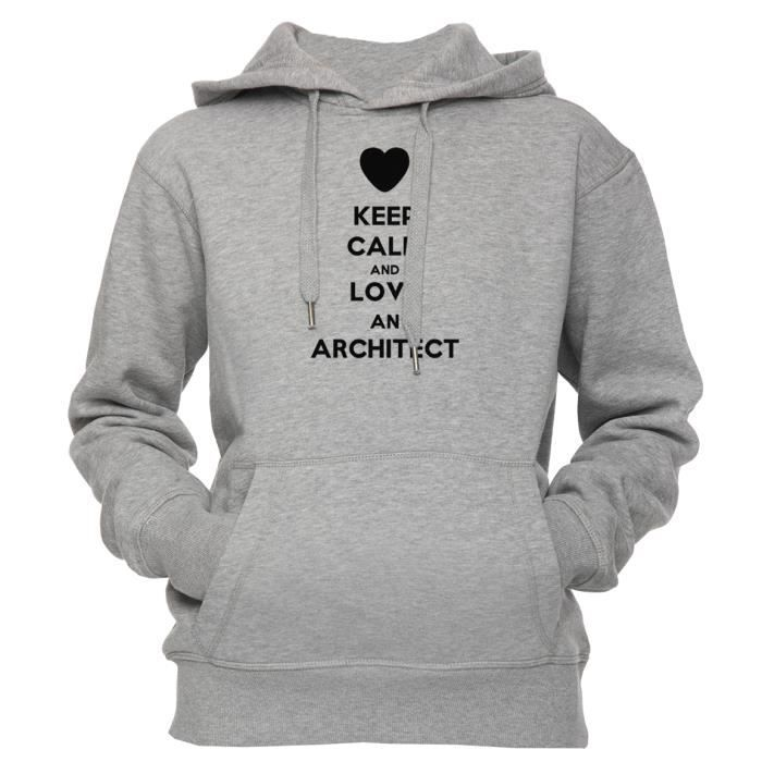 4dd569222ce Sweat à capuche - Keep Calm And Love An Architect Unisexe Homme ...